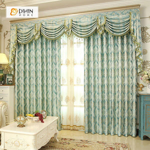 DIHINHOME Home Textile European Curtain DIHIN HOME Light Blue Noble Elegant Embroidered Valance ,Blackout Curtains Grommet Window Curtain for Living Room ,52x84-inch,1 Panel