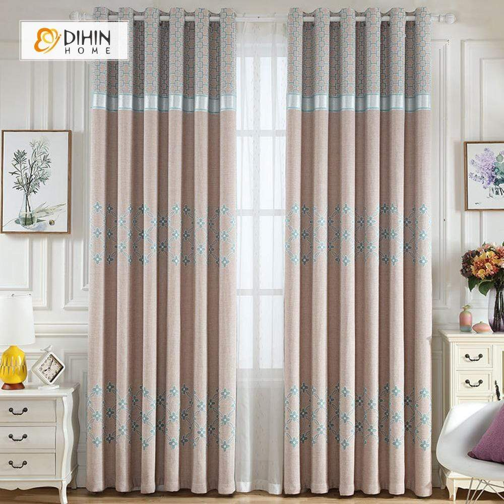 DIHINHOME Home Textile European Curtain DIHIN HOME Light Four Leaves Embroidered,Blackout Grommet Window Curtain for Living Room ,52x63-inch,1 Panel
