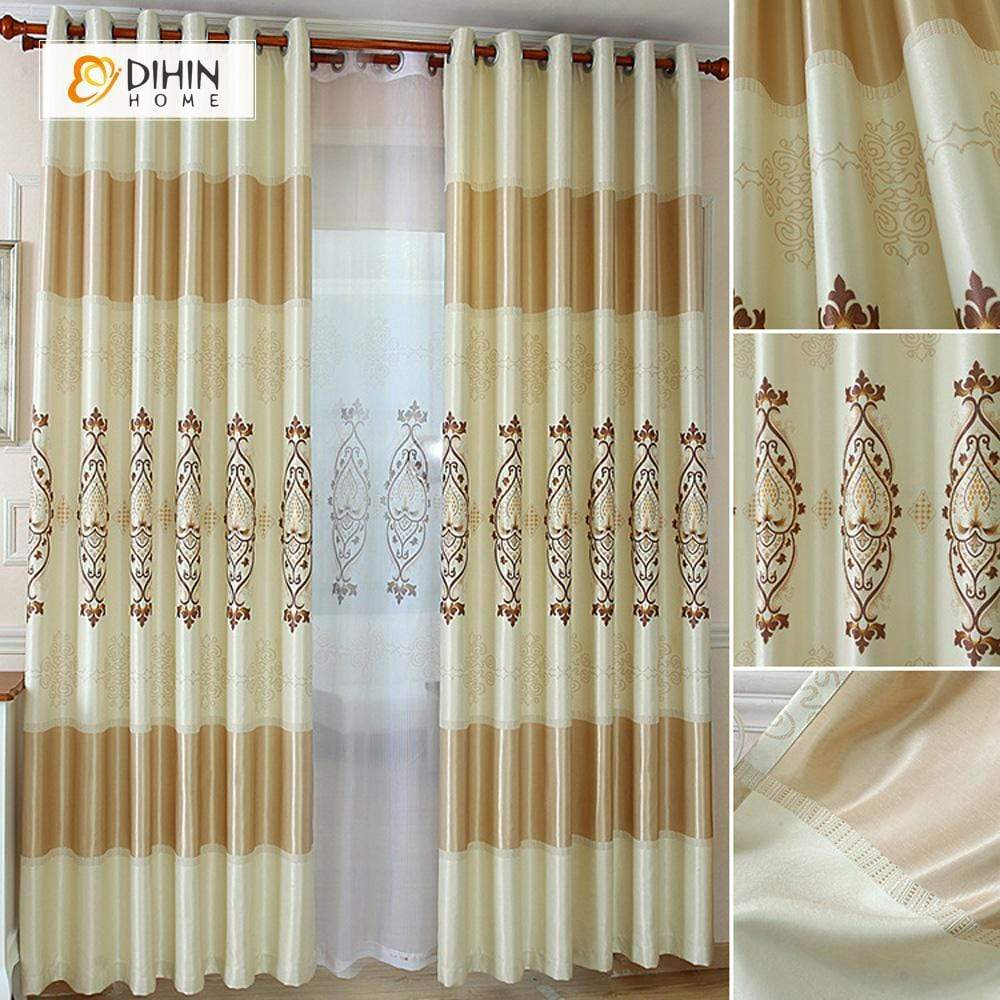 DIHINHOME Home Textile European Curtain DIHIN HOME Light Yellow Concise Printed,Blackout Grommet Window Curtain for Living Room ,52x63-inch,1 Panel