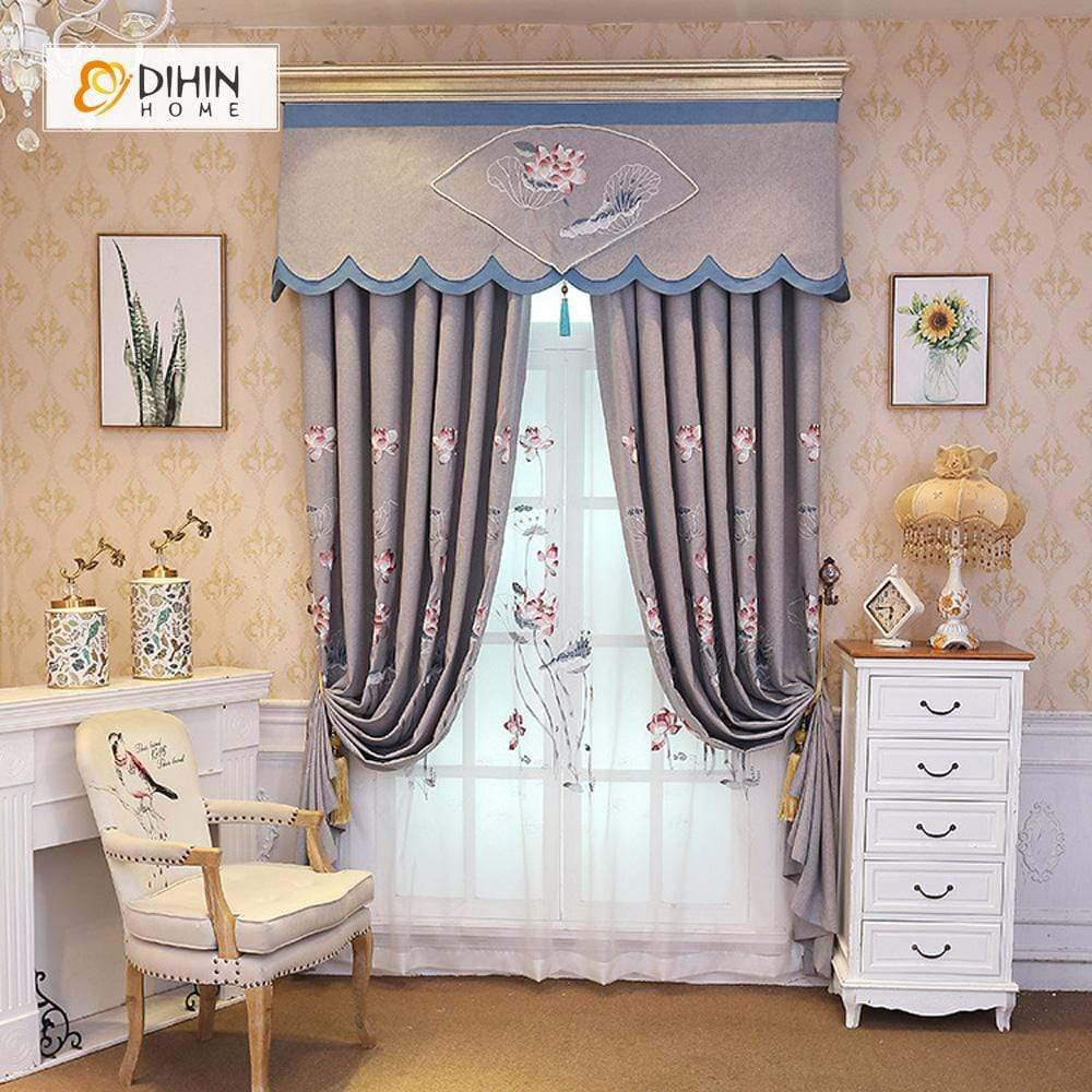 DIHINHOME Home Textile European Curtain DIHIN HOME Lotus Embroidered Valance,Blackout Curtains Grommet Window Curtain for Living Room ,52x84-inch,1 Panel