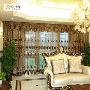 DIHINHOME Home Textile European Curtain DIHIN HOME Luxurious Embroidered Brown Valance,Blackout Curtains Grommet Window Curtain for Living Room ,52x84-inch,1 Panel