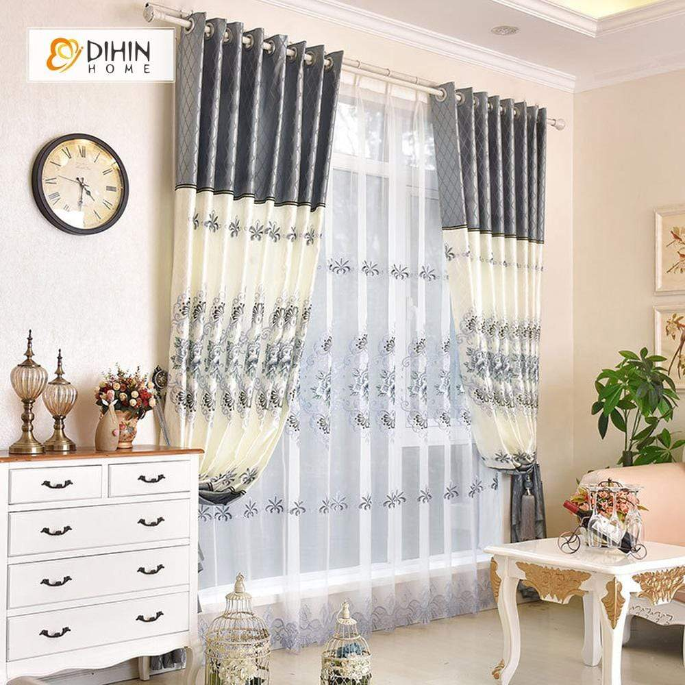 DIHINHOME Home Textile European Curtain DIHIN HOME Luxurious Grey Flowers Embroidered,Blackout Grommet Window Curtain for Living Room ,52x63-inch,1 Panel