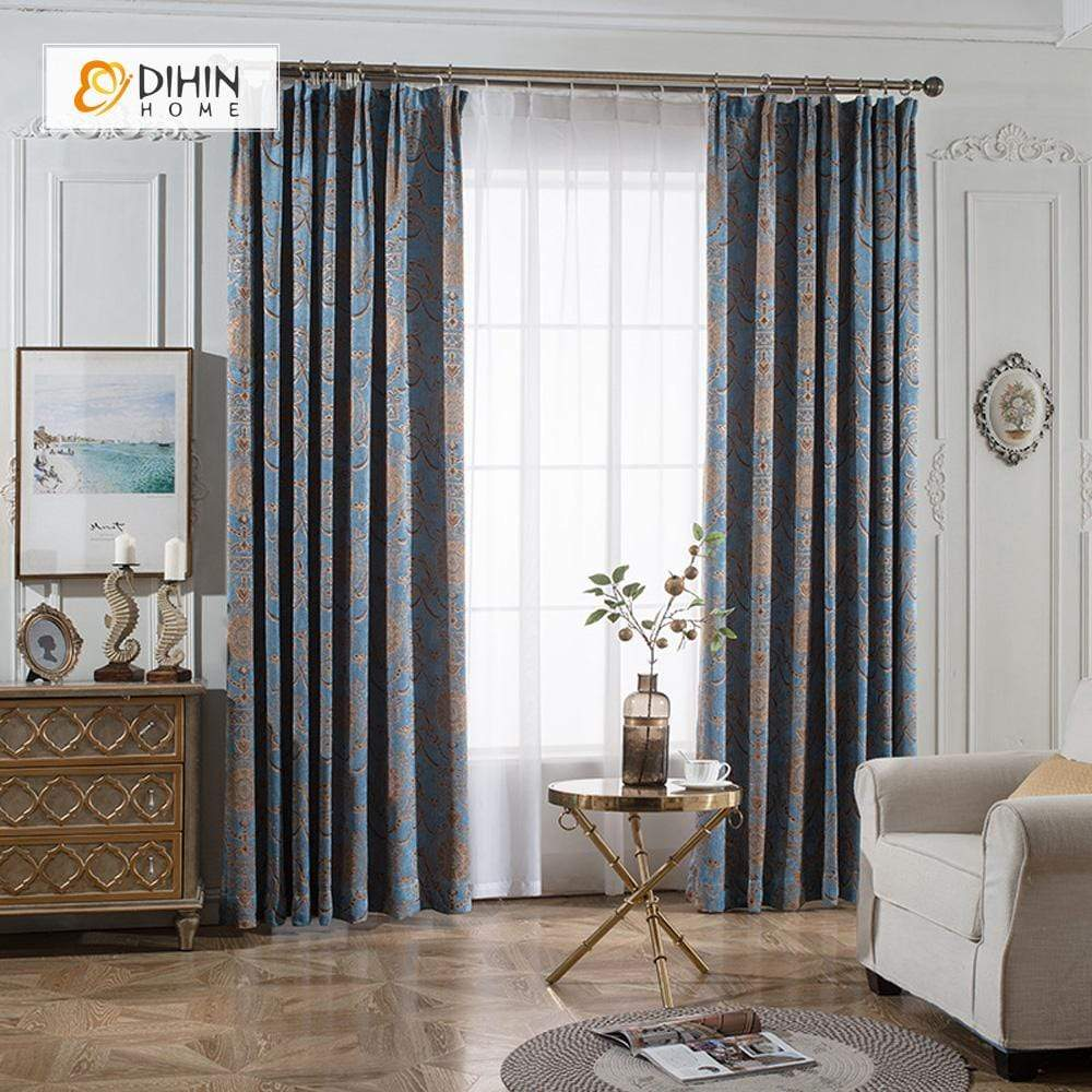 DIHINHOME Home Textile European Curtain DIHIN HOME Luxurious Jacquard ,Cotton Linen ,Blackout Grommet Window Curtain for Living Room ,52x63-inch,1 Panel