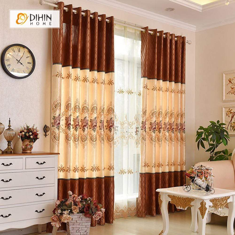 DIHINHOME Home Textile European Curtain DIHIN HOME Luxurious Yellow Flowers Embroidered,Blackout Grommet Window Curtain for Living Room ,52x63-inch,1 Panel