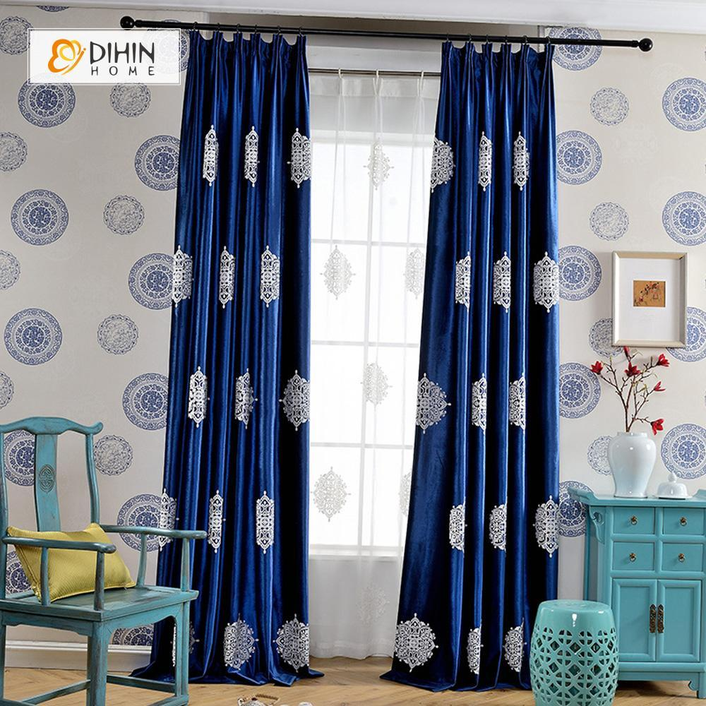 DIHINHOME Home Textile European Curtain DIHIN HOME Luxury Embroidered Blue Curtain ,Velvet Fabric ,Blackout Grommet Window Curtain for Living Room ,52x63-inch,1 Panel
