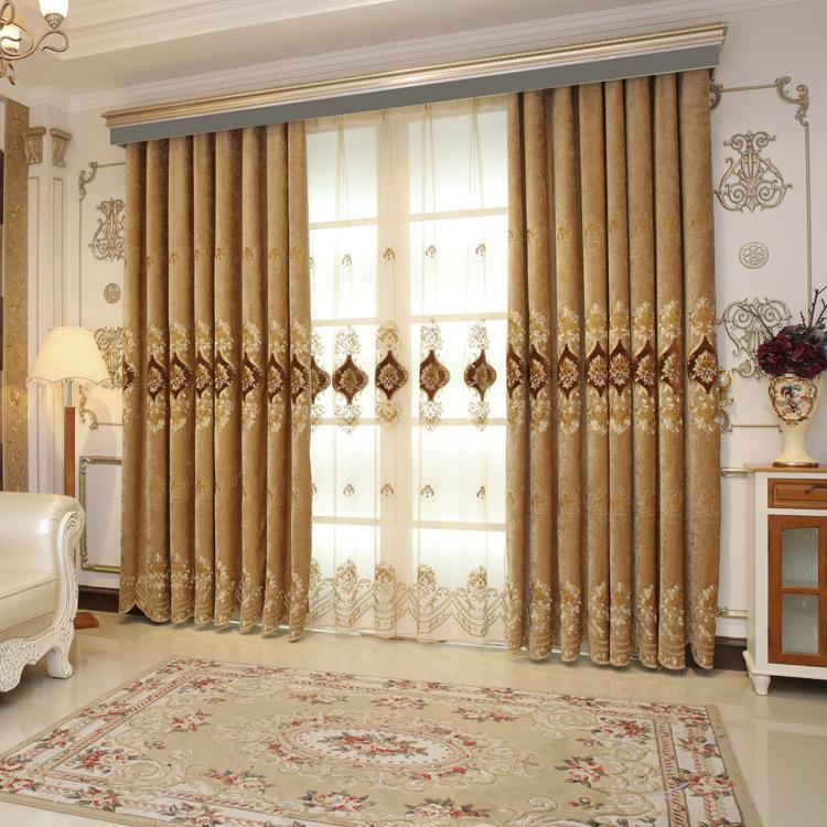 DIHINHOME Home Textile European Curtain Custom Made Curtains / Grommet / As Talked Size DIHIN HOME Luxury Embroidered Curtain ,Blackout Curtains Grommet Window Curtain for Living Room ,A Set of 6 Panles