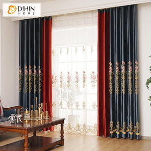 DIHINHOME Home Textile European Curtain DIHIN HOME Luxury Embroidered Curtains High Quality Window Drapes,Blackout Grommet Window Curtain for Living Room ,52x63-inch,1 Panel