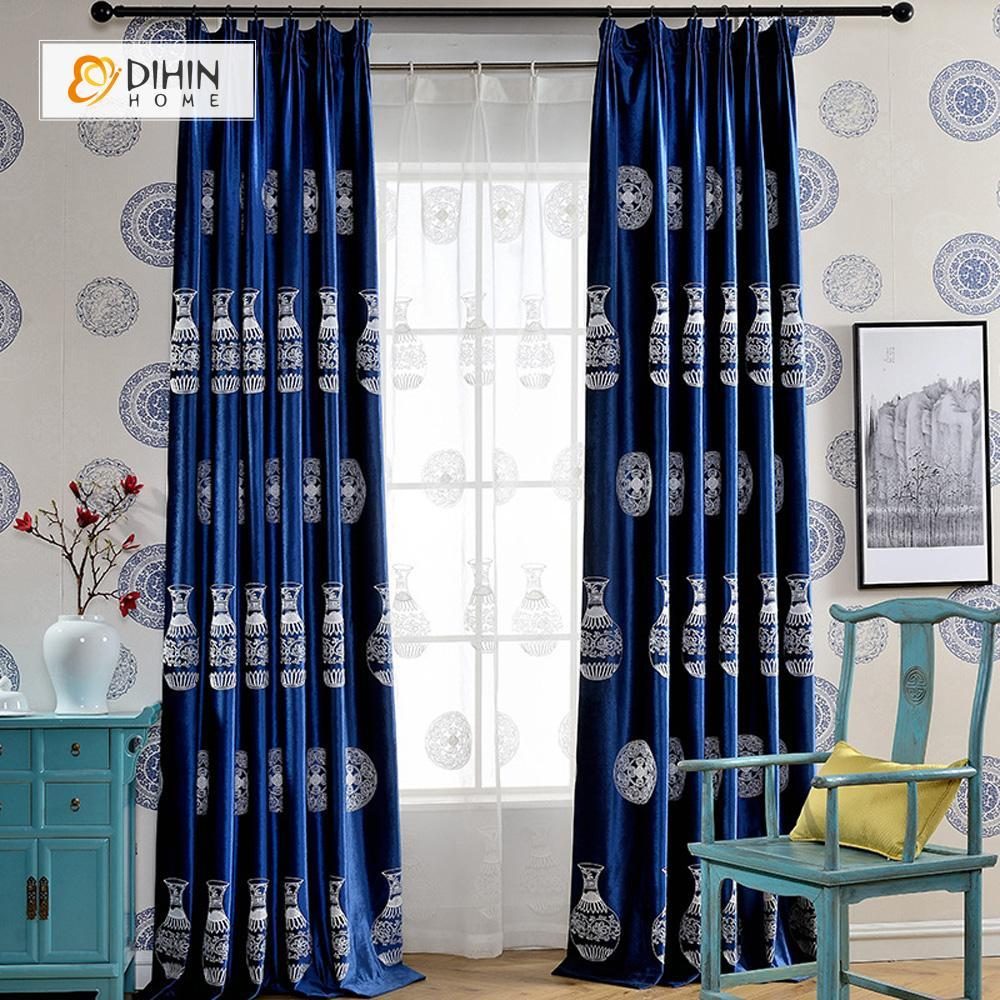 DIHINHOME Home Textile European Curtain DIHIN HOME Luxury Embroidered Pottery Curtain ,Velvet Fabric ,Blackout Grommet Window Curtain for Living Room ,52x63-inch,1 Panel