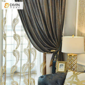 DIHIN HOME Luxury Embroidered Valance,Blackout Curtains Grommet Window Curtain for Living Room ,52x90-inch,1 Panel