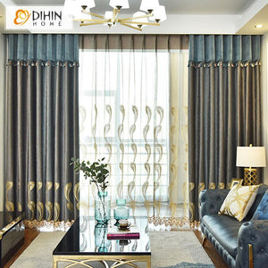 DIHINHOME Home Textile European Curtain DIHIN HOME Luxury Embroidered Valance,Blackout Curtains Grommet Window Curtain for Living Room ,52x90-inch,1 Panel