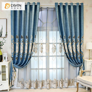 DIHINHOME Home Textile European Curtain DIHIN HOME Luxury European Blue Fabric Embroidered Valance ,Blackout Curtains Grommet Window Curtain for Living Room ,52x84-inch,1 Panel