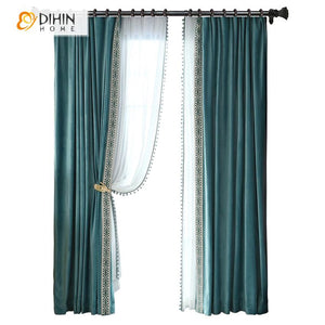 DIHINHOME Home Textile European Curtain DIHIN HOME Luxury European Velvet Cloth Customized Curtains,Blackout Grommet Window Curtain for Living Room ,52x63-inch,1 Panel