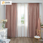 DIHINHOME Home Textile European Curtain DIHIN HOME Luxury European Velvet Cloth Pink Color Customized Curtains,Blackout Grommet Window Curtain for Living Room ,52x63-inch,1 Panel