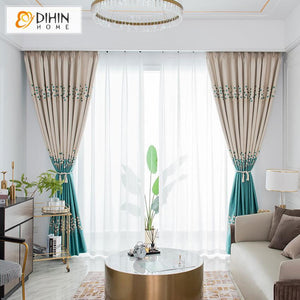 DIHINHOME Home Textile European Curtain DIHIN HOME Luxury Green High Precision Jacquard,Blackout Grommet Window Curtain for Living Room ,52x63-inch,1 Panel