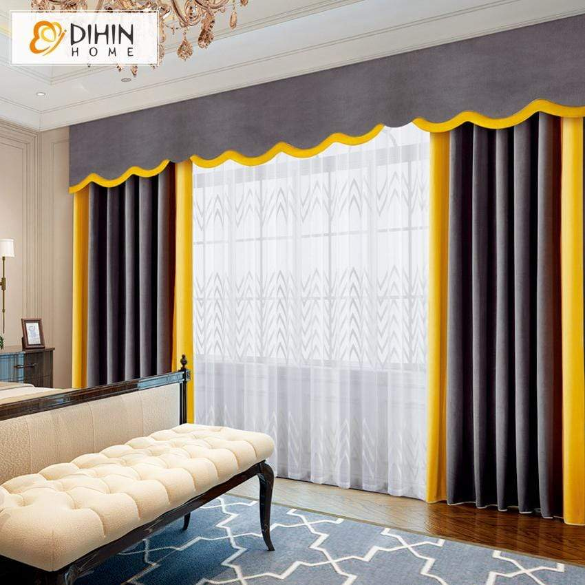 DIHIN HOME Luxury Grey and Yellow Velvet Customized Valance ,Blackout  Curtains Grommet Window Curtain for Living Room ,52x84-inch,1 Panel