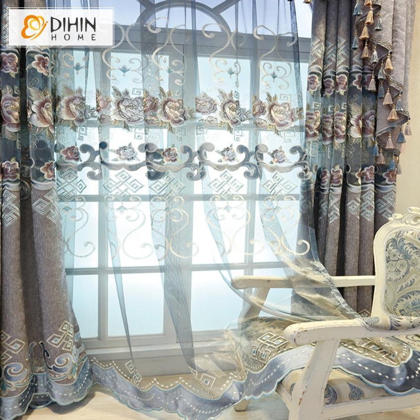 DIHINHOME Home Textile European Curtain DIHIN HOME Luxury High Quality Embroidered Valance ,Blackout Curtains Grommet Window Curtain for Living Room ,52x84-inch,1 Panel