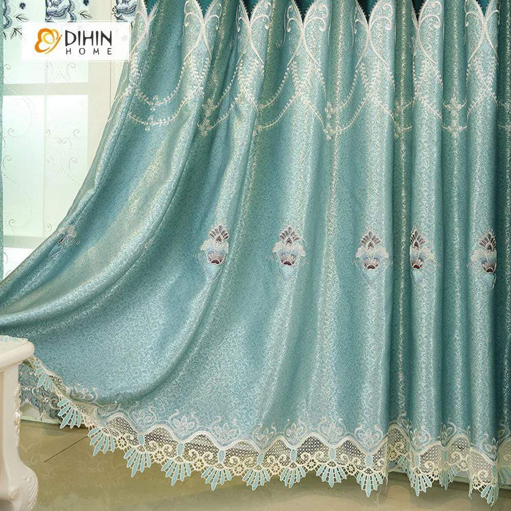 DIHINHOME Home Textile European Curtain DIHIN HOME Middle Blue Flowers Embroidered,Blackout Grommet Window Curtain for Living Room ,52x63-inch,1 Panel