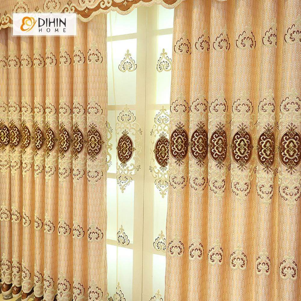 DIHINHOME Home Textile European Curtain DIHIN HOME Middle Brown Embroidered Luxurious Valance ,Blackout Curtains Grommet Window Curtain for Living Room ,52x84-inch,1 Panel