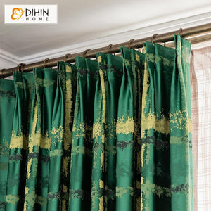 DIHINHOME Home Textile European Curtain DIHIN HOME Modern Green Color Curtains High Precision Jacquard,Blackout Grommet Window Curtain for Living Room ,52x63-inch,1 Panel