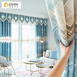 DIHINHOME Home Textile European Curtain DIHIN HOME New Arrival European Abstract Geometry Embroidered Curtains Roral Valance ,Blackout Curtains Grommet Window Curtain for Living Room ,52x84-inch,1 Panel