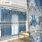 DIHINHOME Home Textile European Curtain DIHIN HOME New Arrival European Blue Color Embroidered Curtains Roral Valance ,Blackout Curtains Grommet Window Curtain for Living Room ,52x84-inch,1 Panel