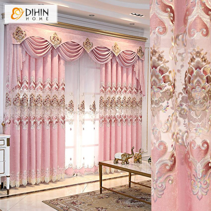 DIHINHOME Home Textile European Curtain DIHIN HOME New Arrival Pink Color Embroidered Curtain Customized Valance ,Blackout Curtains Grommet Window Curtain for Living Room ,52x84-inch,1 Panel