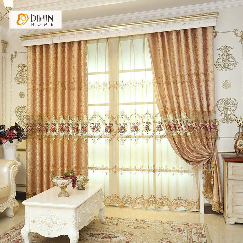 DIHINHOME Home Textile European Curtain DIHIN HOME Noble Brown Embroidered Valance ,Blackout Curtains Grommet Window Curtain for Living Room ,52x84-inch,1 Panel