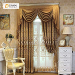 DIHINHOME Home Textile European Curtain DIHIN HOME Noble  Flowers Embroidered Brown Valance ,Blackout Curtains Grommet Window Curtain for Living Room ,52x84-inch,1 Panel