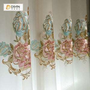 DIHINHOME Home Textile European Curtain DIHIN HOME Noble Pink and Yellow Flowers Embroidered Valance,Blackout Curtains Grommet Window Curtain for Living Room ,52x84-inch,1 Panel