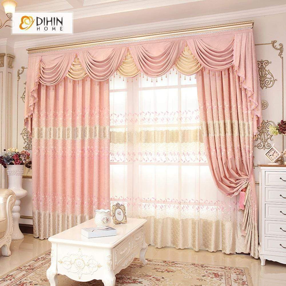 DIHINHOME Home Textile European Curtain DIHIN HOME Noble Pink Embroidered Valance ,Blackout Curtains Grommet Window Curtain for Living Room ,52x84-inch,1 Panel