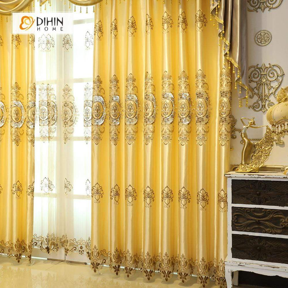 DIHINHOME Home Textile European Curtain DIHIN HOME Noble Yellow Embroidered Valance ,Blackout Curtains Grommet Window Curtain for Living Room ,52x84-inch,1 Panel