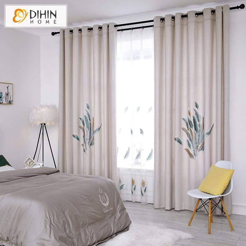 DIHIN HOME Pastoral Printed Curtains ,Blackout Curtains Grommet Window  Curtain for Living Room ,52x84-inch,1 Panel