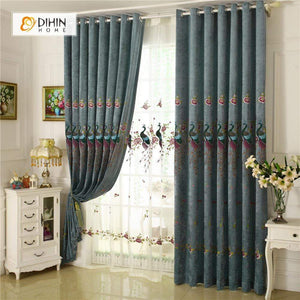 DIHINHOME Home Textile European Curtain DIHIN HOME Peacock Embroidered ,Blackout Curtains Grommet Window Curtain for Living Room ,52x84-inch,1 Panel