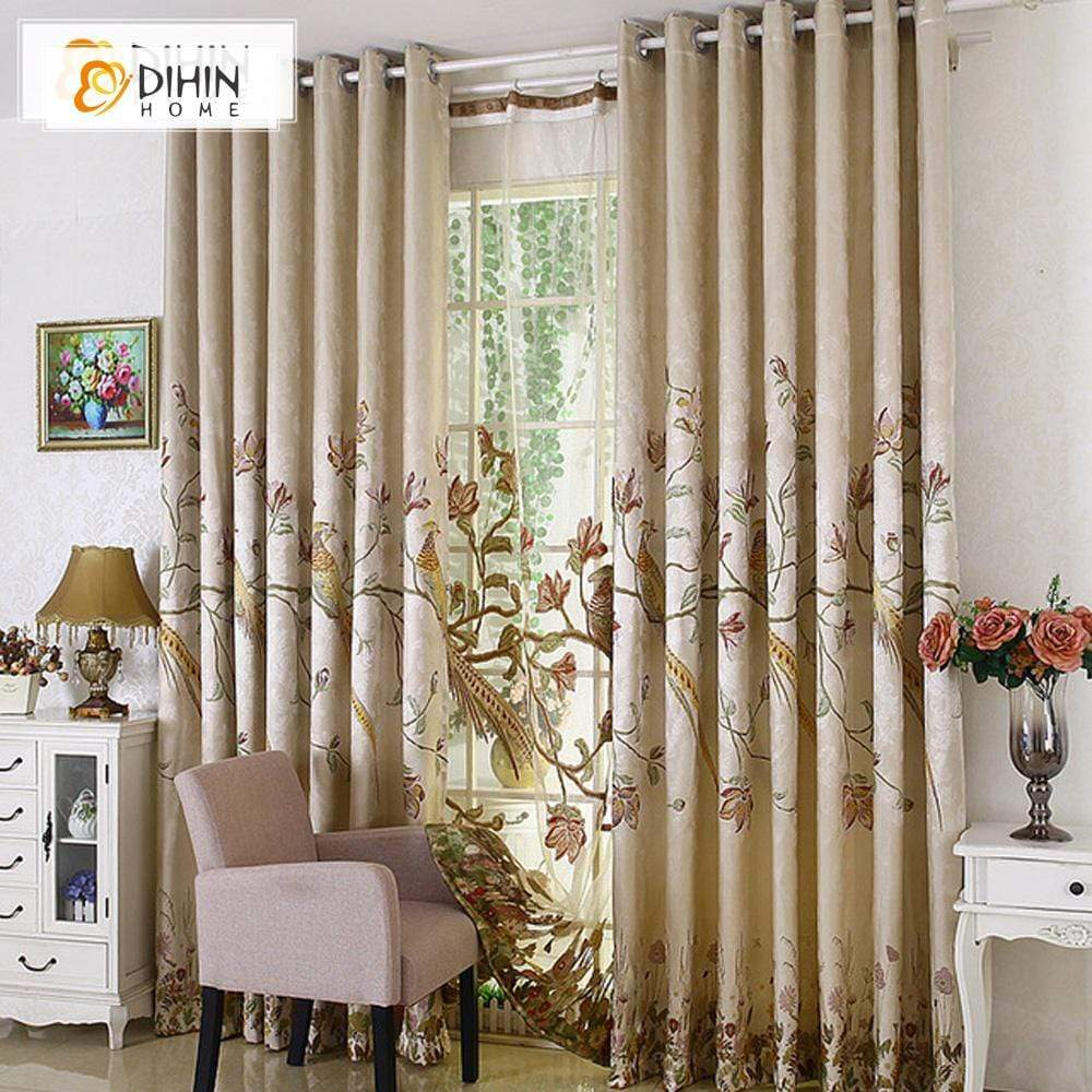 DIHINHOME Home Textile European Curtain DIHIN HOME Peacock Embroidered Valance,Blackout Curtains Grommet Window Curtain for Living Room ,52x84-inch,1 Panel