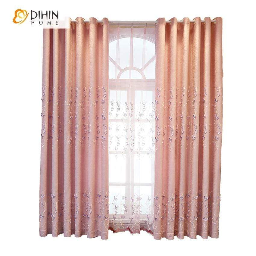 DIHINHOME Home Textile European Curtain DIHIN HOME Pink Butterfly Embroidered Curtain,Blackout Curtains Grommet Window Curtain for Living Room ,52x84-inch,1 Panel