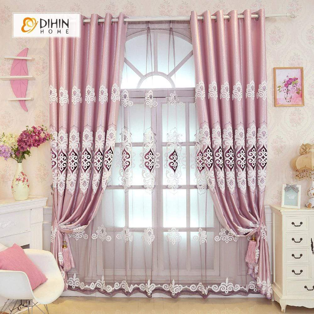 DIHINHOME Home Textile European Curtain DIHIN HOME Pink Elegant Embroidered,Blackout Grommet Window Curtain for Living Room ,52x63-inch,1 Panel