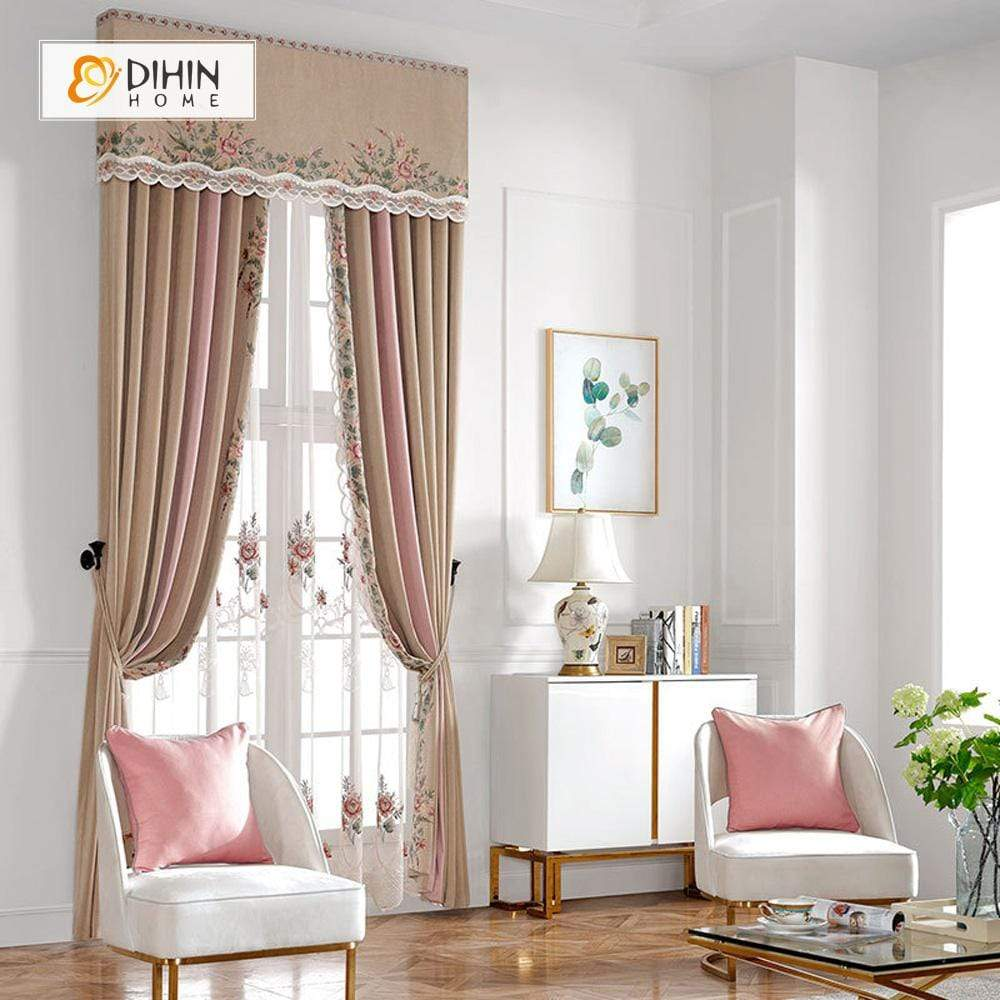 DIHINHOME Home Textile European Curtain DIHIN HOME Pink Elegant Embroidered Flowers Valance,Blackout Curtains Grommet Window Curtain for Living Room ,52x84-inch,1 Panel