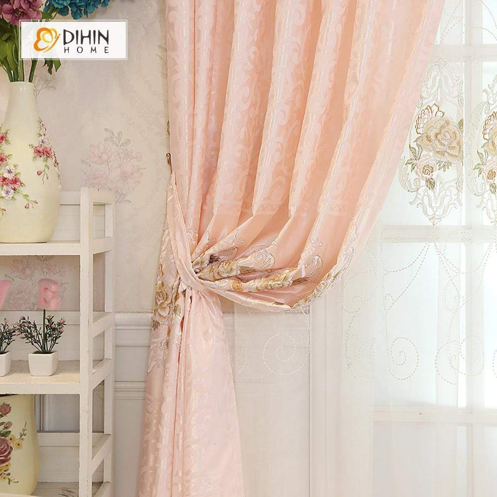 DIHINHOME Home Textile European Curtain DIHIN HOME Pink Embroidered Elegant ,Blackout Curtains Grommet Window Curtain for Living Room ,52x84-inch,1 Panel