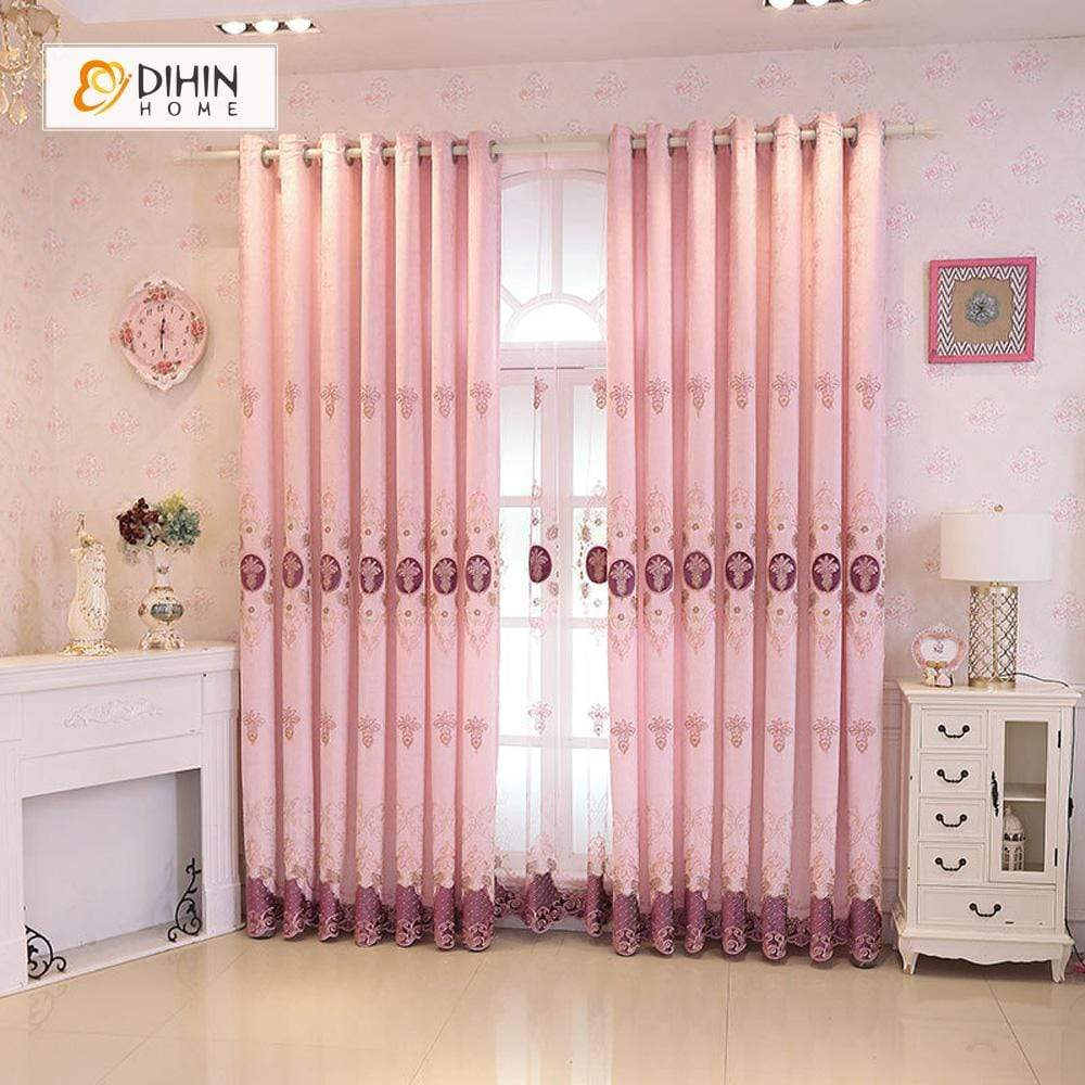 DIHINHOME Home Textile European Curtain DIHIN HOME Pink Flower Embroidered,Blackout Grommet Window Curtain for Living Room ,52x63-inch,1 Panel