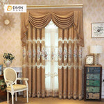 DIHINHOME Home Textile European Curtain DIHIN HOME Pink Flowers Embroidered Brown Valance,Blackout Curtains Grommet Window Curtain for Living Room ,52x84-inch,1 Panel