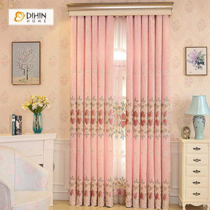 DIHINHOME Home Textile European Curtain DIHIN HOME Pink High Quality Embroidered Valance ,Blackout Curtains Grommet Window Curtain for Living Room ,52x84-inch,1 Panel