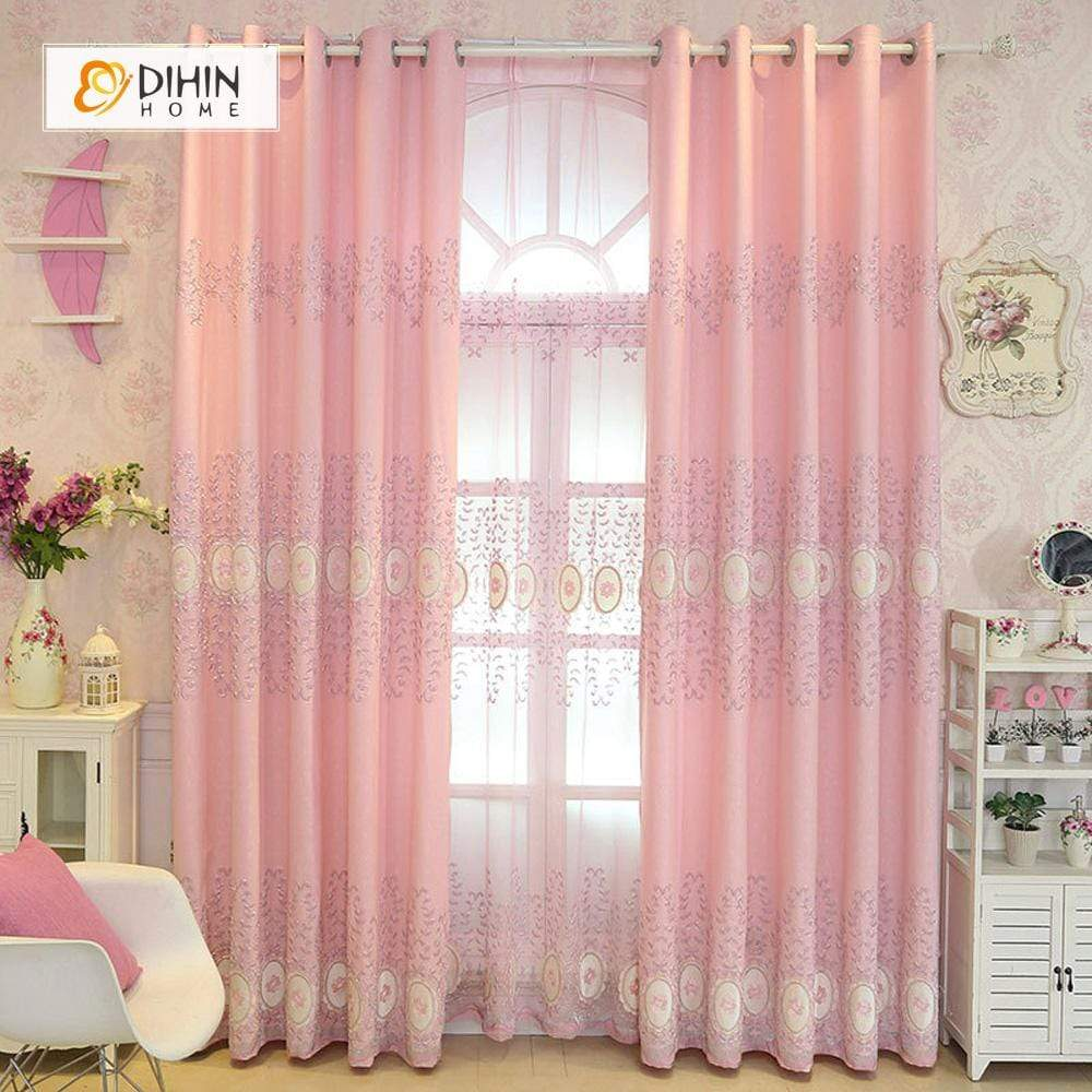 DIHINHOME Home Textile European Curtain DIHIN HOME Pink Luxurious Flowers Embroidered,Blackout Grommet Window Curtain for Living Room ,52x63-inch,1 Panel