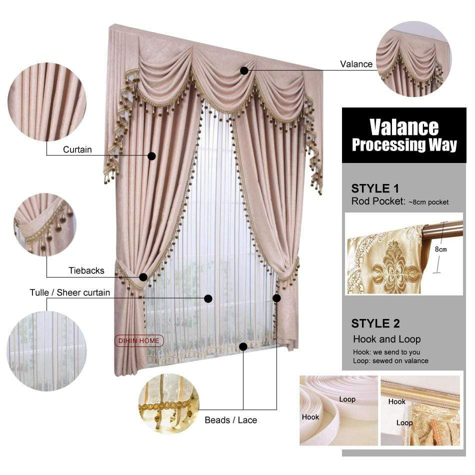 DIHINHOME Home Textile European Curtain DIHIN HOME Pink Luxury Embroidered Valance ,Blackout Curtains Grommet Window Curtain for Living Room ,52x84-inch,1 Panel