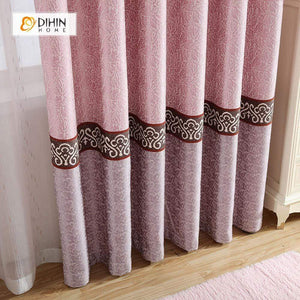 DIHINHOME Home Textile European Curtain DIHIN HOME Pink Middle,Embroidered,Blackout Grommet Window Curtain for Living Room ,52x63-inch,1 Panel