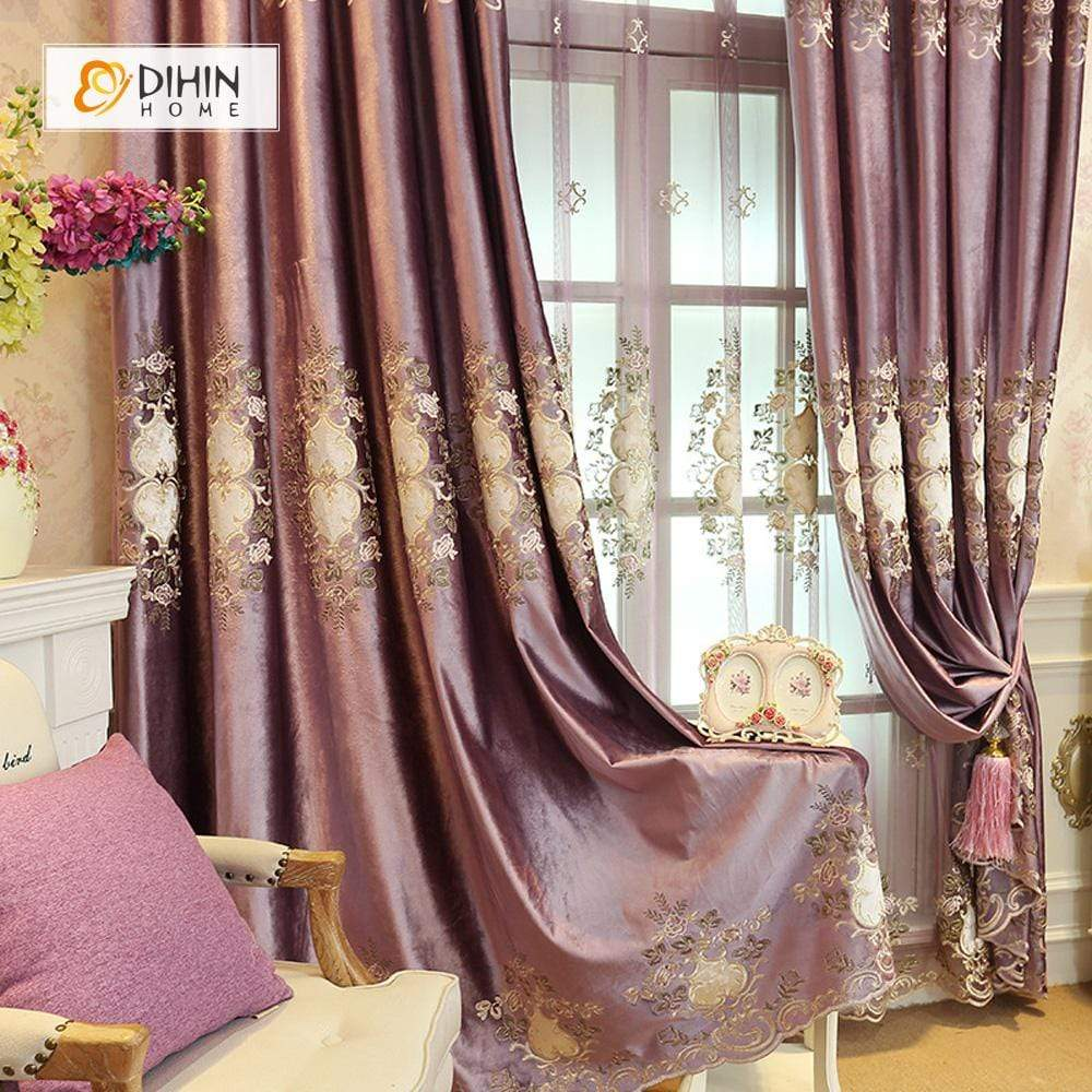 DIHINHOME Home Textile European Curtain DIHIN HOME Purple Embroidered,Blackout Curtains Grommet Window Curtain for Living Room ,52x84-inch,1 Panel