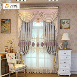 DIHINHOME Home Textile European Curtain DIHIN HOME Purple Embroidered Luxurious Valance ,Blackout Curtains Grommet Window Curtain for Living Room ,52x84-inch,1 Panel