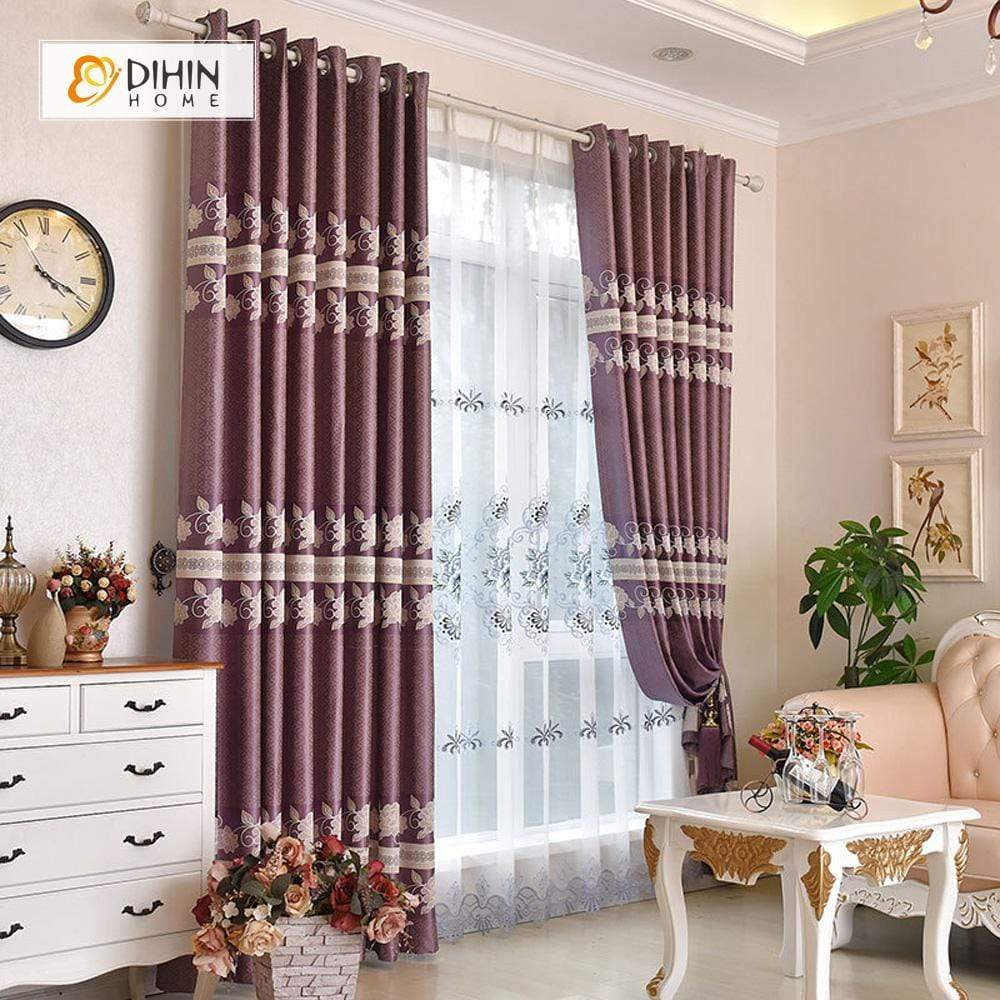 DIHINHOME Home Textile European Curtain DIHIN HOME Purple Flowers and Rattan Embroidered,Blackout Grommet Window Curtain for Living Room ,52x63-inch,1 Panel
