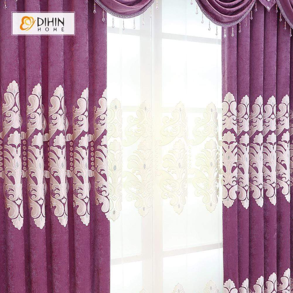 DIHINHOME Home Textile European Curtain DIHIN HOME Purple Luxurious  Embroidered Valance ,Blackout Curtains Grommet Window Curtain for Living Room ,52x84-inch,1 Panel