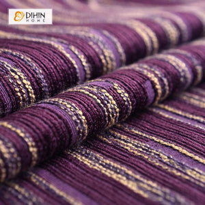 DIHINHOME Home Textile European Curtain DIHIN HOME Purple Stripes Embroidered,Chenille,Blackout Grommet Window Curtain for Living Room ,52x63-inch,1 Panel