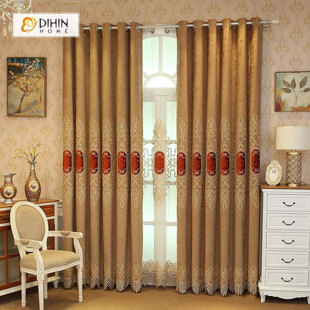 DIHINHOME Home Textile European Curtain DIHIN HOME Red Embroidered Brown Valance ,Blackout Curtains Grommet Window Curtain for Living Room ,52x84-inch,1 Panel